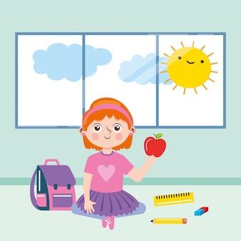 Mädchen in klassenzimmer zwischen schulmaterial und sonnenspähen. zurück zur schule. illustration