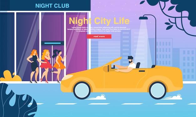 Mädchen in modischen kleidern im night club entrance banner