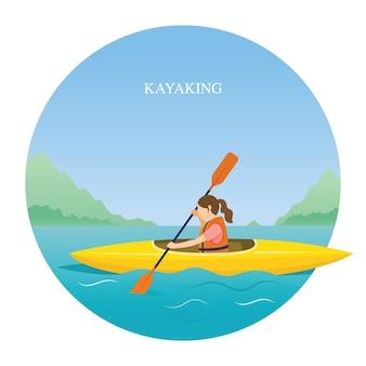 Mädchen in schwimmweste kajakfahren im meer oder im fluss