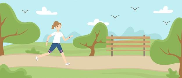 Mädchen in uniform läuft im park.