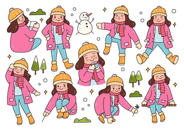 Mädchen in verschiedenen posen, die draußen schnee spielen