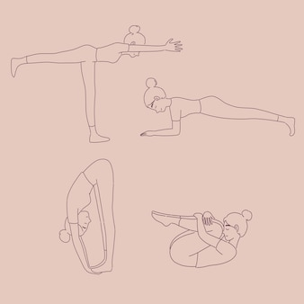 Mädchen in verschiedenen yoga-posen im linienstil