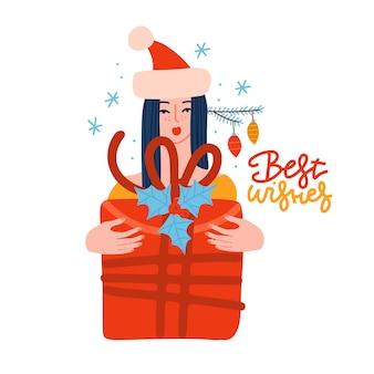 Mädchen in weihnachtsmütze mit weihnachtsgroße geschenkbox im flachen stil vektor-illustration, wenn hübsche junge ...