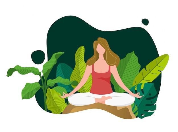 Mädchen in yoga lotus pose.