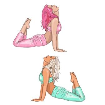Mädchen in yogaposition. vector illustration der schönen karikaturfrau in den verschiedenen haltungen von yoga.