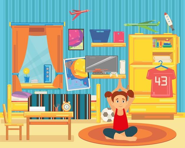 Mädchen ist im kindergarten mit gymnastik beschäftigt.