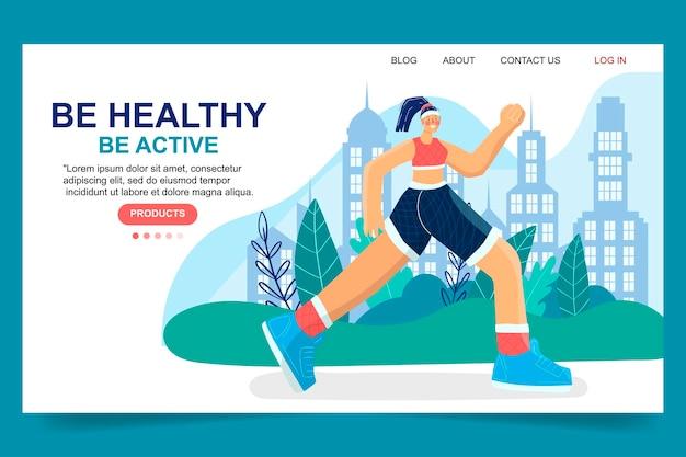 Mädchen joggen, rennen. aktiver, gesunder lebensstil. richtige ernährung und sport. hand gezeichnete moderne landingpage