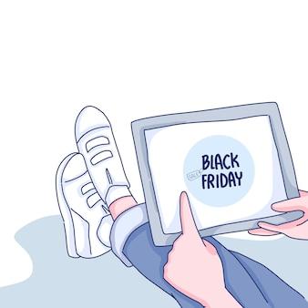 Mädchen kauft online-zeichentrickfigur-illustration ein