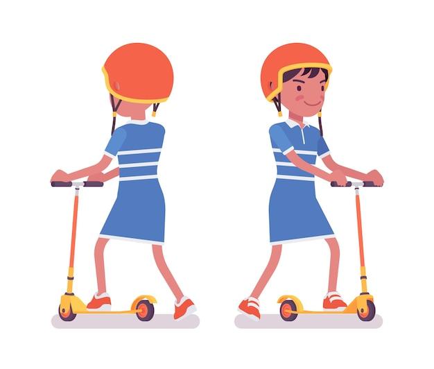Mädchen kind 7, 9 jahre alt, schulpflichtiges schwarzes kind, das tretroller fährt