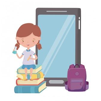 Mädchen kind der schule und smartphone-design