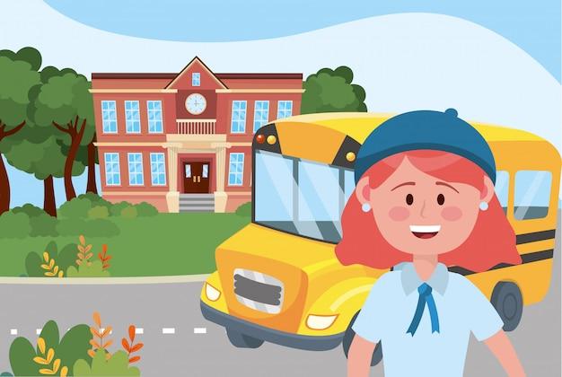 Mädchen kind und busschule