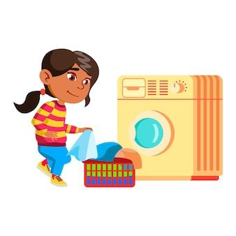 Mädchen kind wäsche hausarbeit routine vektor zu tun. lady kid bereiten sie kleidung zum waschen in der waschmaschine vor. charakter säuglingshelfer hausarbeit beruf flache cartoon illustration