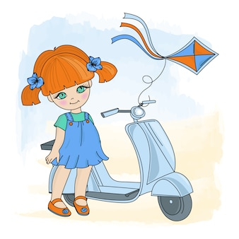 Mädchen-kite-karikatur-vektor-illustrations-satz