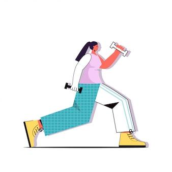 Mädchen kniebeugen mit hanteln gesunden lebensstil gewichtsverlust workout-konzept weibliche zeichentrickfigur