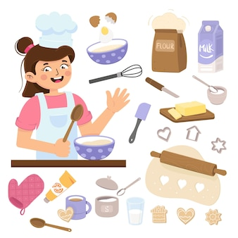 Mädchen kocht in der küche bäckerwerkzeuge isoliert auf weißem hintergrund