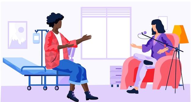 Mädchen kommunizieren in einem krankenzimmer.
