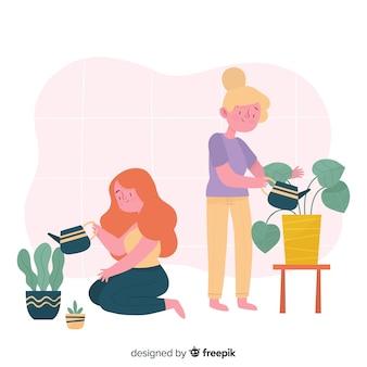 Mädchen kümmern sich um pflanzen