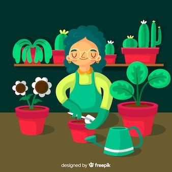Mädchen kümmert sich um pflanzen