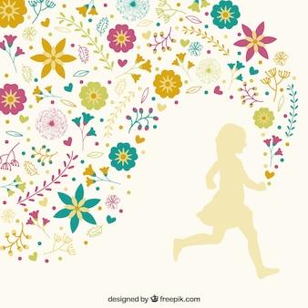 Mädchen läuft mit blumenschmuck