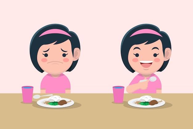 Mädchen langweilig und glücklich mit essen premium