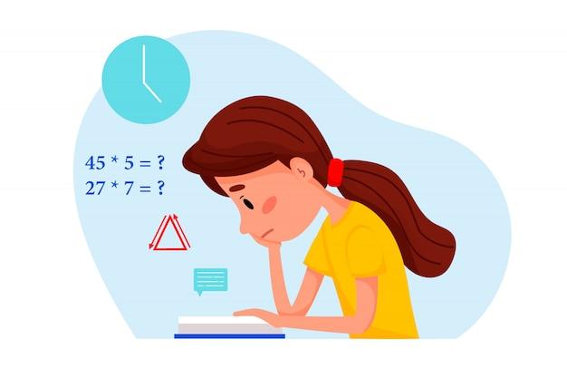 Mädchen lernt mit buch zu hause. vektor flache illustration für websites.