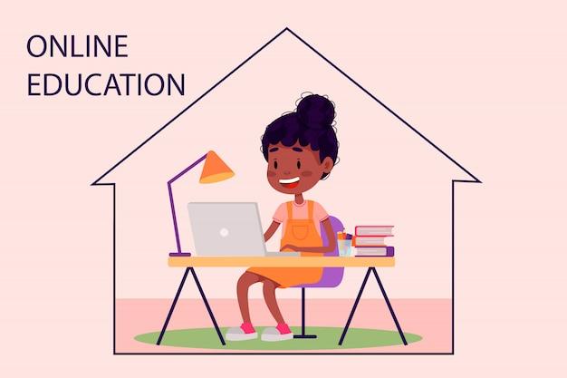Mädchen lernt online mit dem laptop am tisch zu hause. vektor flache illustration für websites. quarantäne bleiben zu hause pandemie