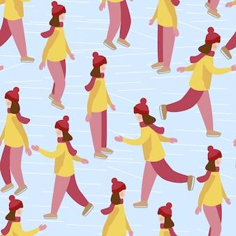 Mädchen lernt schlittschuh laufen.