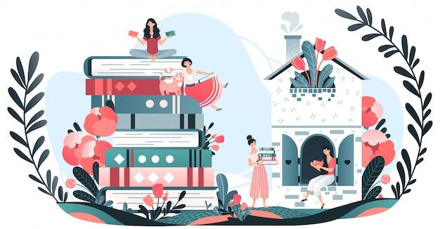 Mädchen lesen bücher, liebhaber zu lesen, wissen und bildung, stapel von riesigen büchern, pflanzen und blumen und leser cartoon illustration.