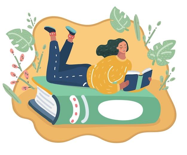 Mädchen liegt an einem grünen buch