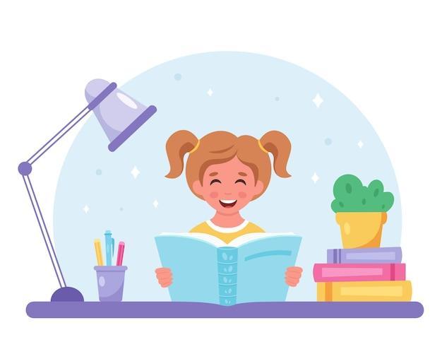 Mädchen liest ein buch mädchen lernt mit einem buch