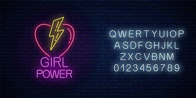 Mädchen macht zeichen im neonstil mit alphabet auf dunklem backsteinmauerhintergrund. leuchtendes symbol des weiblichen slogans mit herz- und blitzformen. frauenrechte. vektor-illustration.