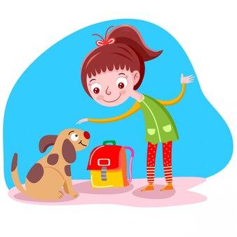 Mädchen mag eine hundevektorillustration