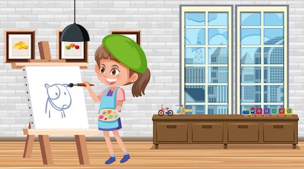 Mädchen malen auf leinwand im haus
