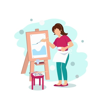 Mädchen malt auf einer staffelei mit aquarellen. flache vektorillustration