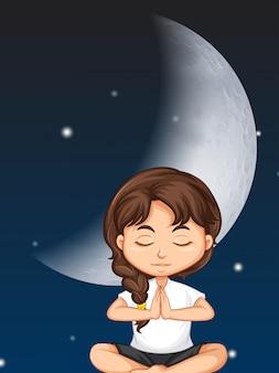 Mädchen meditieren auf mondhintergrund