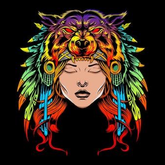 Mädchen mit bärenhut regenbogen