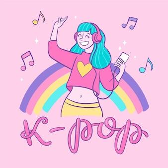 Mädchen mit blauen haaren, die k-pop-musik hören