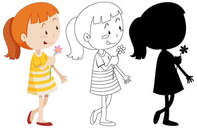 Mädchen mit blume auf ihrer hand und seinem umriss- und silhouettensatz