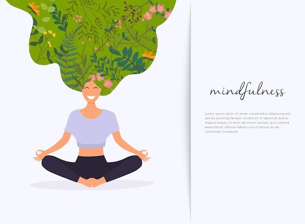 Mädchen mit blumenhaar in yoga lotus pose
