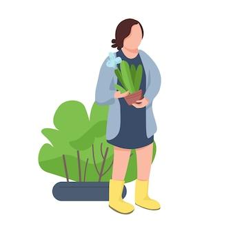 Mädchen mit blumentopf frau, die zimmerpflanze flache designfarbe gesichtslosen charakter hält