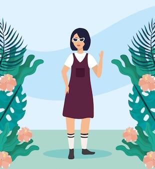 Mädchen mit bluse und freizeitkleidung