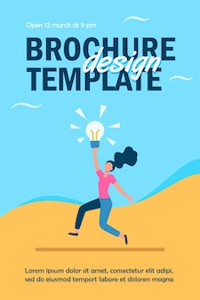Mädchen mit brillanter idee flyer vorlage