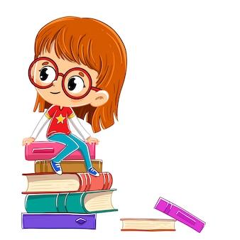 Mädchen mit brille sitzt auf einem stapel bücher über etwas interessantes nachzudenken