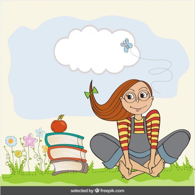 Mädchen mit bücher-illustration