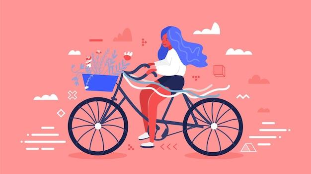 Mädchen mit dem blauen haar, das fahrrad mit blume reitet und strauß im vorderen korb verlässt