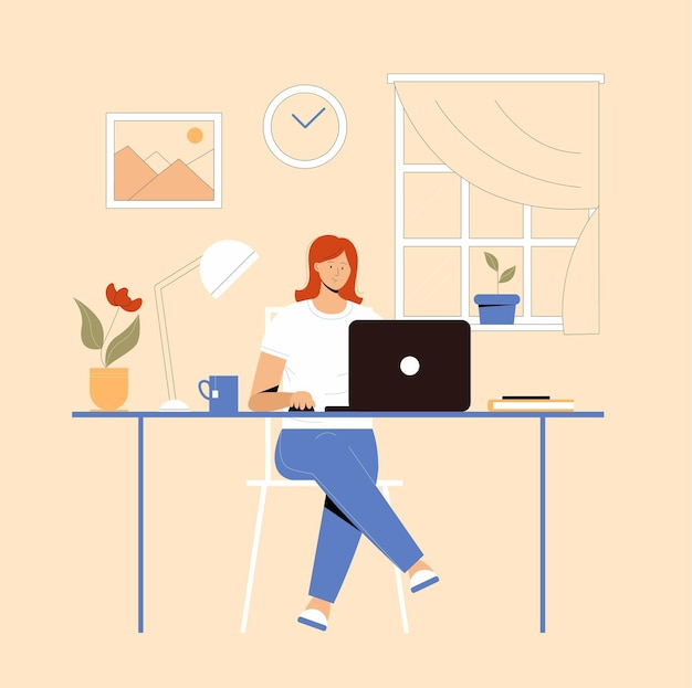Mädchen mit dem laptop, der auf dem stuhl sitzt. freiberuflich tätiges oder studierendes konzept. nette illustration im flachen stil.