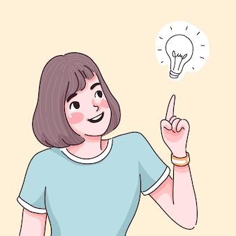 Mädchen mit der neuen ideenillustration