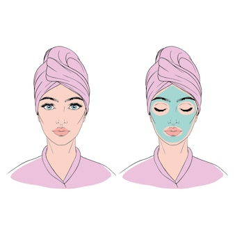 Mädchen mit einem handtuch auf dem kopf und einer kosmetischen maske auf ihrem gesicht.