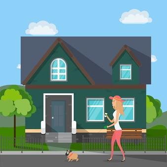 Mädchen mit einem mops. das mädchen geht mit einem hund spazieren