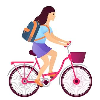 Mädchen mit einem rucksack, der ein fahrrad reitet. zurück zum schulkonzept